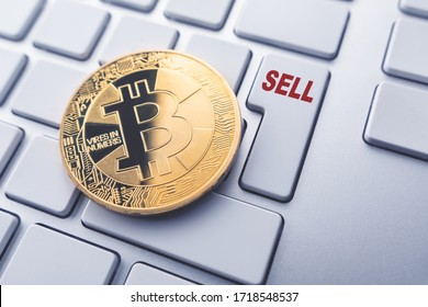 Bitcoin sell concept. Toned soft focus picture. Conceptual image for worldwide cryptocurrency and digital payment system.