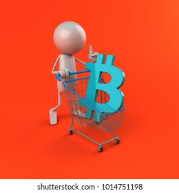 Bitcoin shopping - 3D Illustration