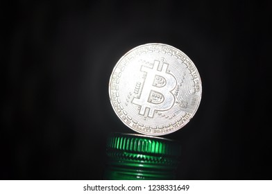 Bitcoin in sliver color