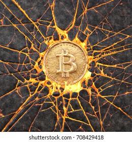 Bitcoin smashes a burning volcanic rock. 3d illustration.