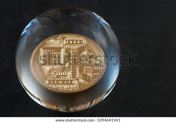 Bitcoin in a soap bubble against the backdrop of stock quotes. Dangers and risks of investing in bitcoin. speculation
