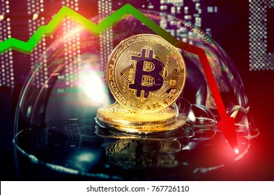 Bitcoin in a soap bubble. Unstable concept. Risks and dangers of investing to bitcoin. Exchange rate depreciation. Speculation.