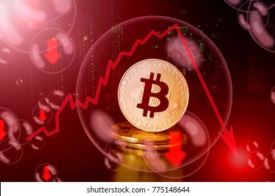 Bitcoin in a soap bubble. Unstable concept. Risks and dangers of investing to bitcoin. Collapse of the exchange rate.