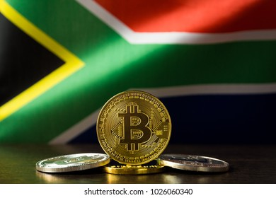 Bitcoin and South Africa Flag. Concept for investors in cryptocurrency and Blockchain Technology in South Africa.
