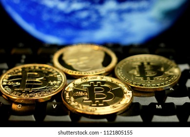 Bitcoin souvenir coins. Conceptual image for worldwide cryptocurrency and digital payment system