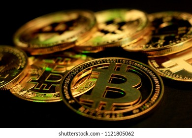 Bitcoin souvenir coins. Cryptocurrency golden bitcoin coin. Conceptual image for worldwide cryptocurrency and digital payment system