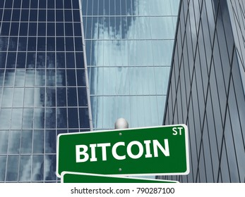 Bitcoin street sign on financial district building background