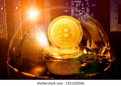 Bitcoin SV bubble. Bitcoin sv coin in a soap bubble. Dangers and risks of investing to bitcoin sv cryptocurrency. Speculation