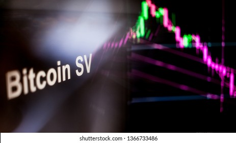Bitcoin SV Cryptocurrency token. crisis and the collapse of prices, the red graph down. The behavior of the cryptocurrency exchanges, concept. Modern financial technologies.