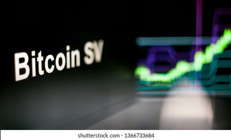Bitcoin SV Cryptocurrency token. Rise in price and Growth of quotations, the green graph up. The behavior of the cryptocurrency exchanges, concept. Modern financial technologies.