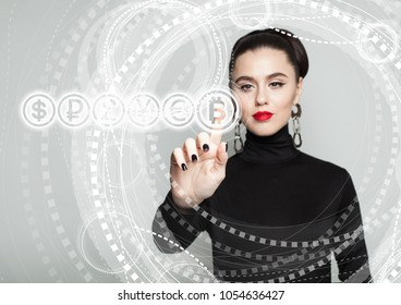 Bitcoin symbol and Female Hand. Blockchain Transfers Concept on Gray Background