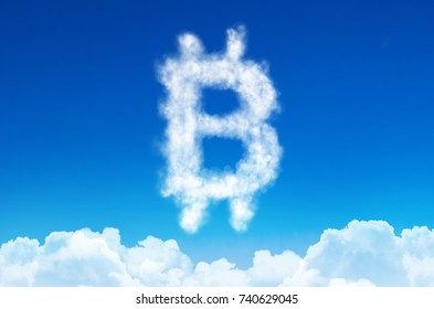 Bitcoin symbol in the form of clouds of steam against a blue sky