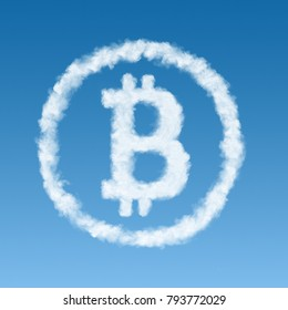 bitcoin symbol made from a cloud