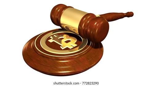 Bitcoin Symbol On Gavel Stand 3D Illustration