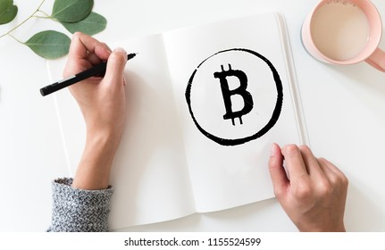 Bitcoin Symbol on a Sketchpad