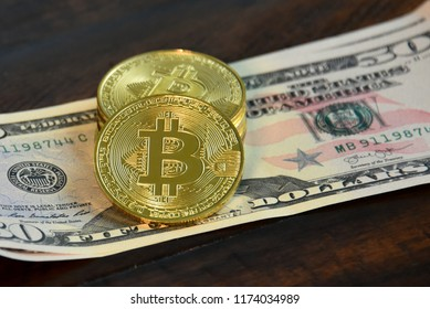 Bitcoin symbol in physical form, digital currency