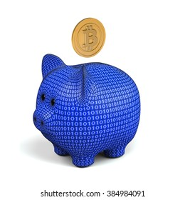 bitcoin symbol and piggy bank in digital style