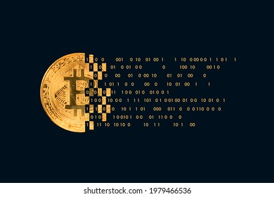 Bitcoin with technology binary code.  Digital binary data and secure data with number 0 and 1. Cryptocurrency future Technology background for hackathon and other digital events. digital currency