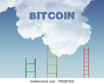Bitcoin text with ladder rising into clouds