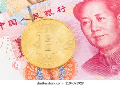 Bitcoin token on Chinese yuan banknote money
