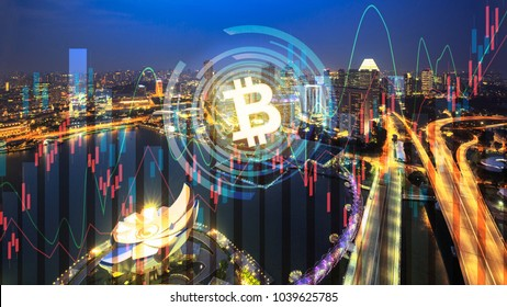 bitcoin trading exchange stock market investment business graph on city background