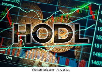 bitcoin trading market data chart and hodl word. virtual cryptocurrency concept