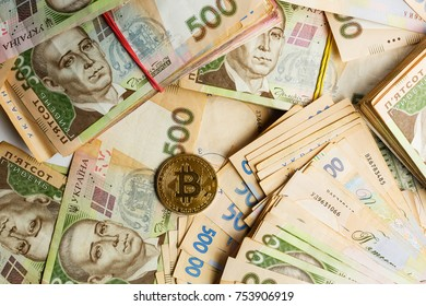 Bitcoin and ukraine national currency hryvnya