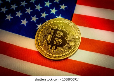 Bitcoin and United States of America Flag. Concept for investors in cryptocurrency and Blockchain Technology in United States of America.