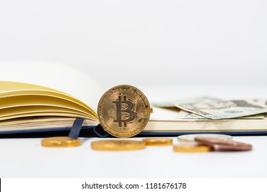 bitcoin and us dolla and notbook , selective focus, crypto currency concept