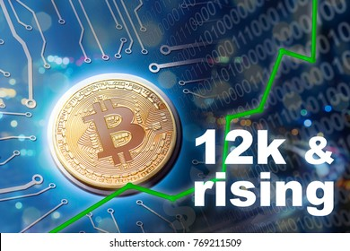Bitcoin value rising and financial investment upswing.  Rising on upswing for profits and trading USD.