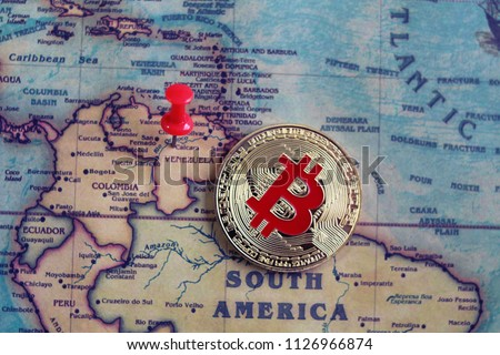 Bitcoin in Venezuela on world map. Venezuela is the cheapest country to mine bitcoin. Mining of bitcoin in Venezuela concept.