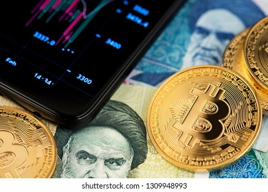 Bitcoin virtual money on Iranian money Rial banknotes. Image of bitcoin with Iranian Rial banknotes. Background with cryptocurrency bitcoin on Iranian money and candlestick chart graph on mobile phone