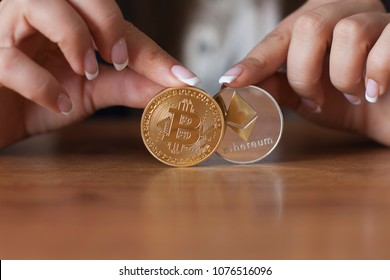 Bitcoin vs Ethereum chart and exchange trading platform. Crypto coin. Blockchain technology. Bitcoin cryptocurrency, market platform
