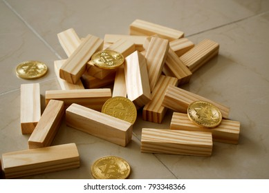 Bitcoin with wood blocks