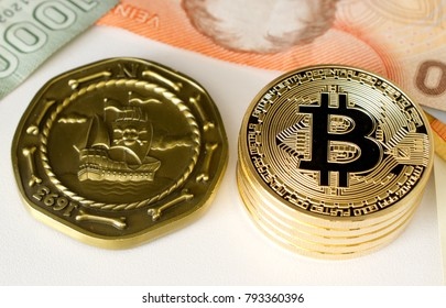 Bitcoin with world bills and a pirate coin