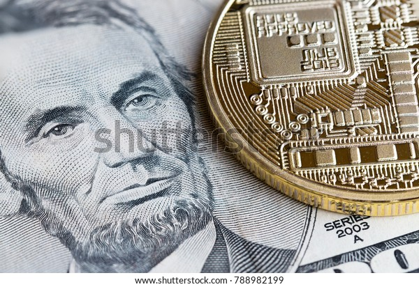 Bitcoin,Cryptocurrency is modern of Exchange Digital payment money,Gold Bitcoins circuit with LinColn US USD. Cryptocurrency can uses designed as exchange on internet web markets