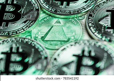 "Bitcoins around the ""Eye of Providence"" representing conspiracy theories around bitcoin and other cryptocurrencies. Bitcoins on one dollar bill."