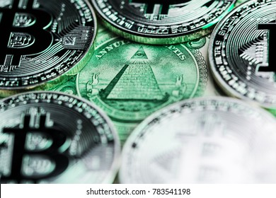 "Bitcoins around the ""Eye of Providence"" representing conspiracy theories around bitcoin and other cryptocurrencies."