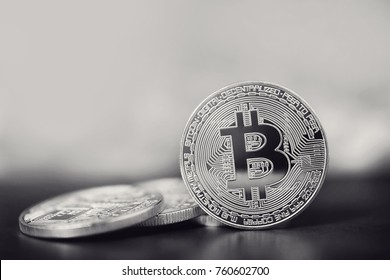 Bitcoins. Bitcoin on Black and White background. Concept mining