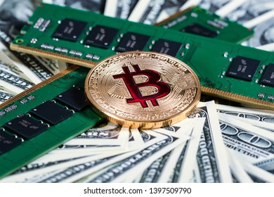 Bitcoins btc bit-coin. RAM. Random access memory. Crypto currency in cyberspace as a system of payment.