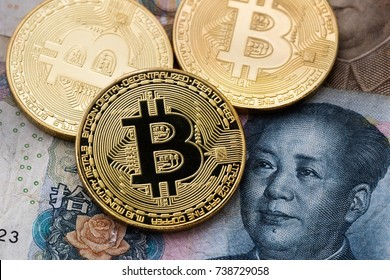 Bitcoins and China money in background
