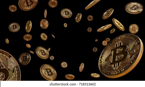 Bitcoins Falling, blockchain technology for cryptocurrency, isolated on black background with center space, 3D Rendering