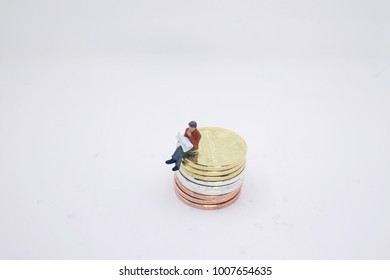 a bitcoins. Gold coins with the figure