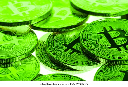 Bitcoins in Green indicating a positive price rise, Bull Run or Bull Market environment.