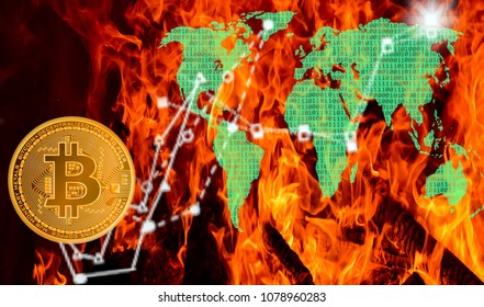 Bitcoins and New Virtual money concept.Gold bitcoins with Candle stick graph chart and digital background.Golden coin with icon