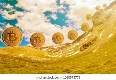 Bitcoins and New Virtual money concept.Gold bitcoins with Candle stick graph chart and digital background.Golden coin with icon letter