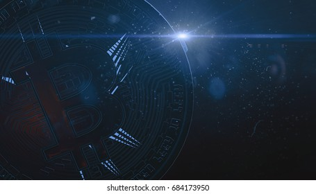 Bitcoins, new virtual money on various digital background, 3D render