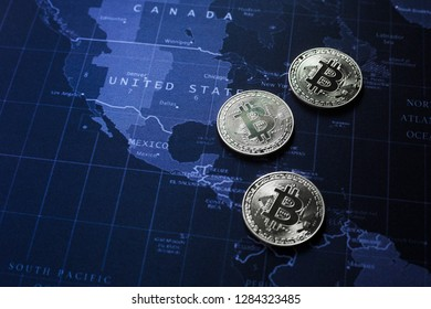 Bitcoins on Americas map
