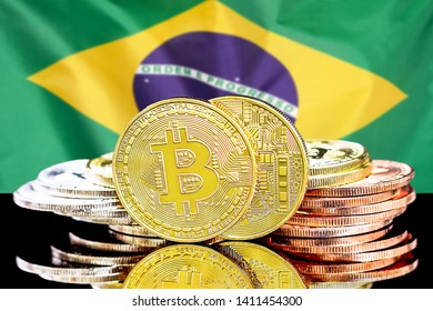 Bitcoins on the background of the flag Brazil. Bitcoins on the background of the Brazil flag. Concept for investors in cryptocurrency and Blockchain technology in Brazil.