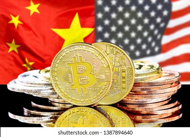 Bitcoins on the background of the flag China and United States of America. Concept for investors in cryptocurrency and Blockchain technology in the China and United States.